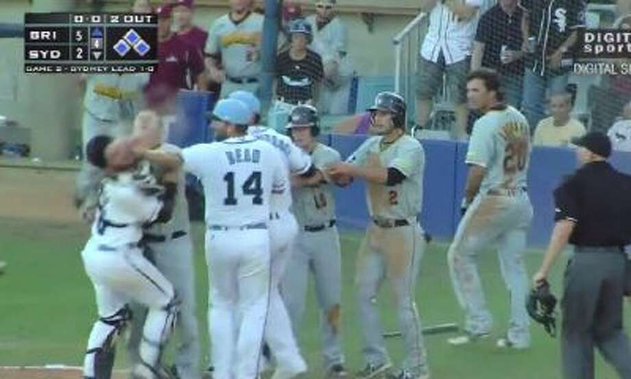 This is the start of the brawl in an Australian Baseball League game Saturday night.