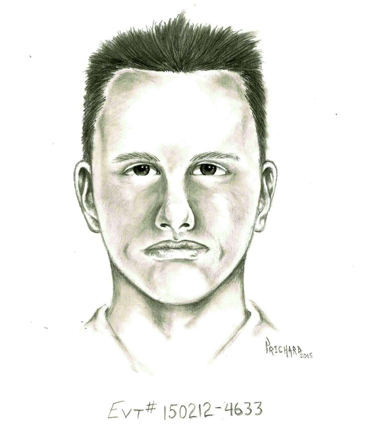 This undated artist rendition provided by the Las Vegas Metropolitan Police Department shows a composite sketch of a suspect police are seeking the publicís assistance in identifying, whom they believed was involved in a road rage shooting in Las Vegas on Feb. 12, 2015. A Las Vegas mother of four killed in a road rage shooting last week got in her car with her adult son and his gun and drove around their neighborhood looking for the assailant who ended up shooting her in a residential cul-de-sac, police said Tuesday, Feb. 17, 2015. In a change from earlier accounts, police said 44-year-old Tammy Meyers had her teenage daughter run in the house to fetch her armed son, who then went with her as she drove to find the driver who had earlier stopped his car in front of hers, got out and approached her with angry words. (AP Photo/Las Vegas Metropolitan Police Department)