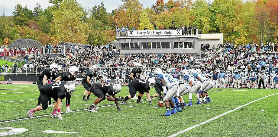 The Falcons play  West Haven during their first football game on the newly dedicated, Larry McHugh Field Saturday afternoon. Xavier won 27-7. Photo: Catherine Avalone — New Haven Register   / New Haven RegisterThe Middletown Press
