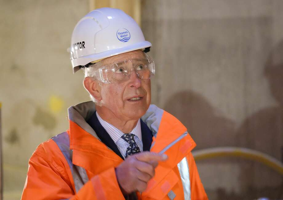 Britain's Prince Charles visits the recently constructed Lee Tunnel, a sewer tunnel dug 75 meters (250 feet) under London's east end, to mark the 150th anniversary of London's sewer network at the Abbey Mills Pumping Station in east London, Wednesday Feb. 18, 2015.  The Prince's visit commemorates the 150th anniversary of the start of the modern water system that serves London started by engineer Joseph Bazalgette's designs for the London Sewer system started in 1865. (AP Photo / Christopher Pledger, pool) Photo: AP / POOL DAILY TELEGRAPH