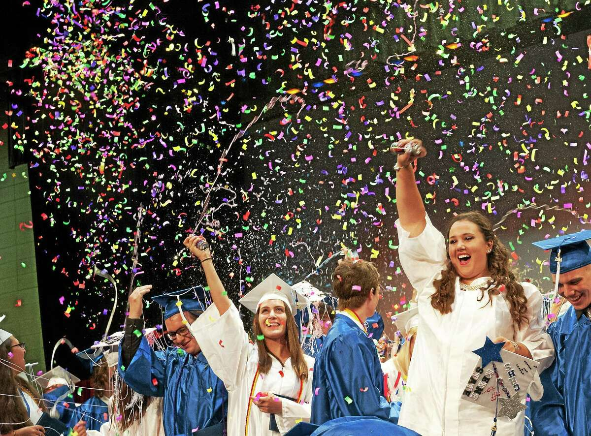 In this 2014 photo, members of Coginchaug Regional High's graduating class mark the pinnacle of their four years at the school that serves residents of Durham and Middlefield.