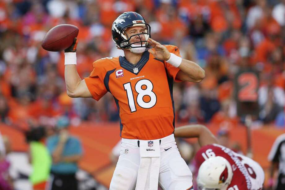 Quarterback Peyton Manning has a chance to break Brett Favre's record for career touchdown passes tonight when the Broncos host the 49ers. Register columnist Chip Malafronte wonders just how far Manning, who isn't showing any signs of slowing down, brings the record. Photo: The Associated Press File Photo  / FR170363 AP