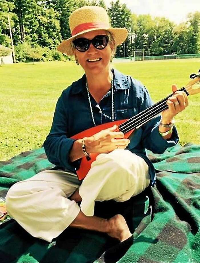 """Be Happy, Life is short. Play the uke!"" says Rafi Moore, a Human Library book. Check her out at the Chester Library. Photo: Courtesy Rafi Moore"