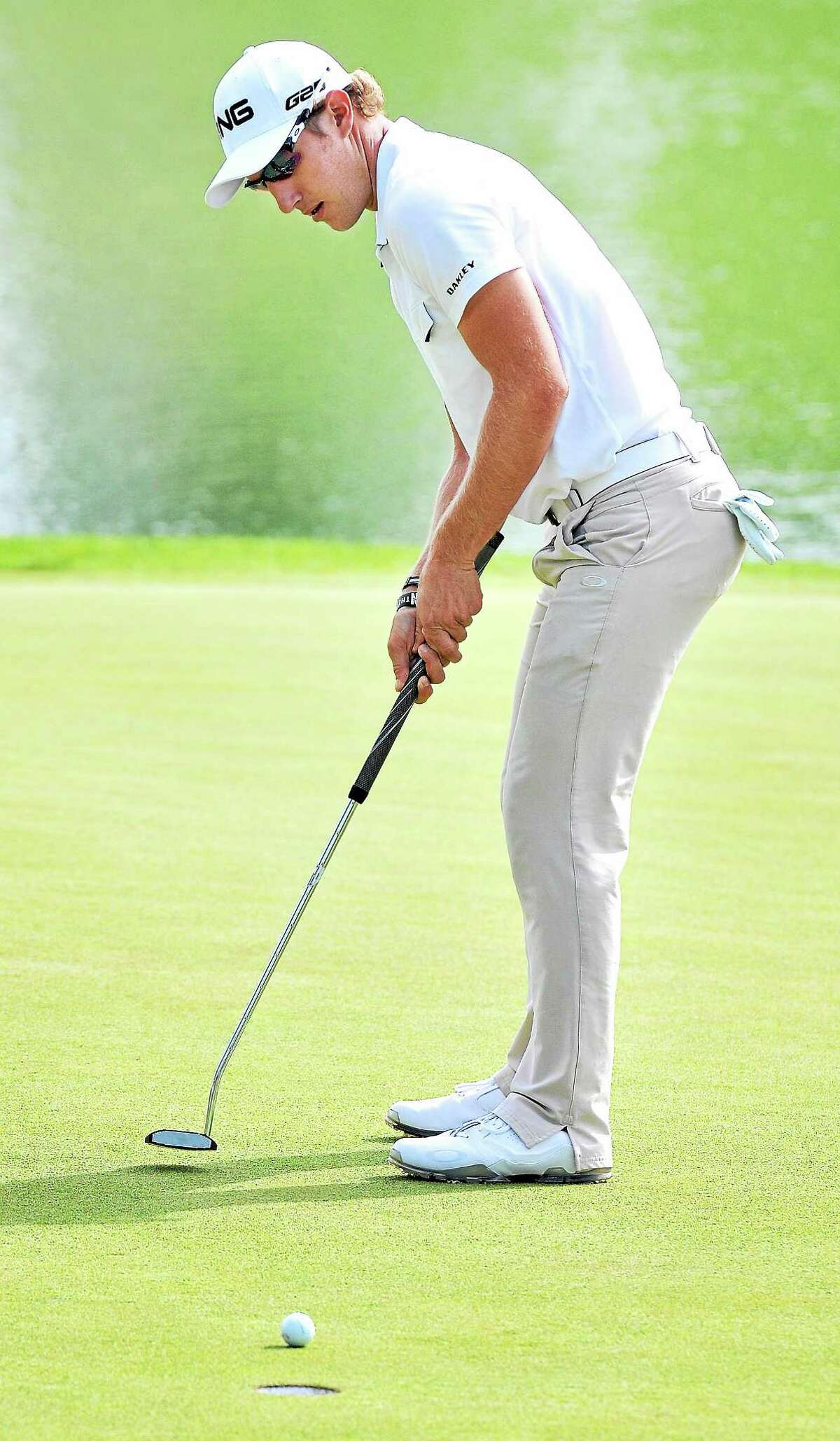 Derek Ernst putts on the 17th hole during the second round of the Travelers Championship on Friday in Cromwell.