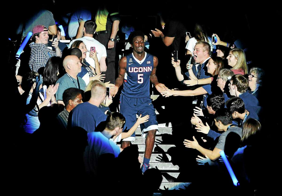 UConn's Daniel Hamilton is announced at last year's First Night festivities at Gampel Pavilion in Storrs.