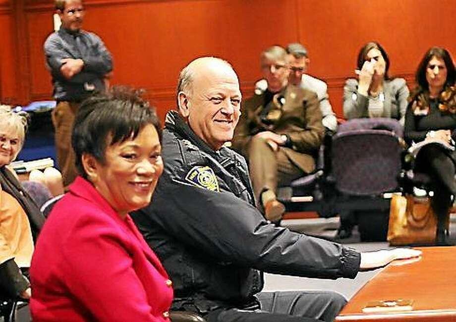 New Haven Mayor Toni Harp and Police Chief Dean Esserman. Photo: Hugh McQuaid Photo