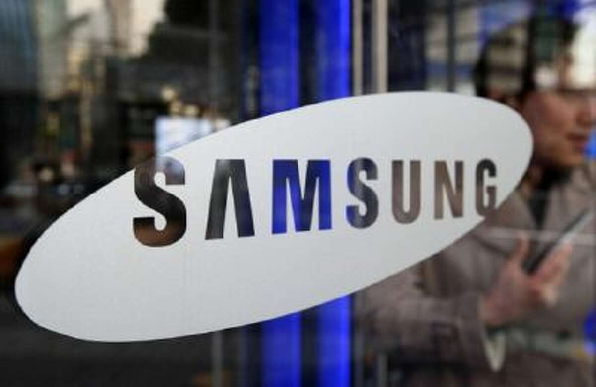 The Samsung logo is seen.