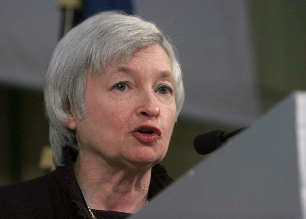President of the Federal Reserve Bank of San Francisco Janet Yellen, delivers a speech at the International Symposium of the Banque de France in this file photo.