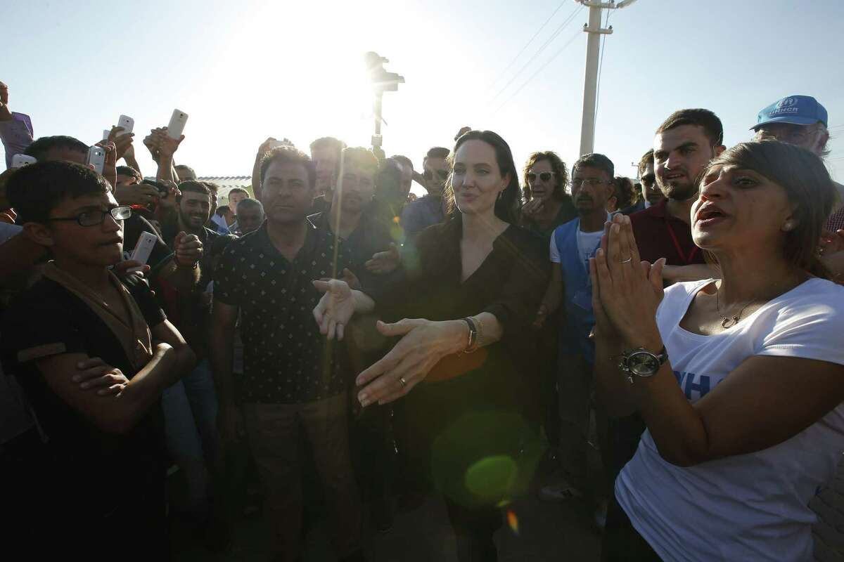 Acress Angelina Jolie, special envoy for the ONU commission for refugees, makes a visit Saturday to the refugee camp of Mardin, Turkey.