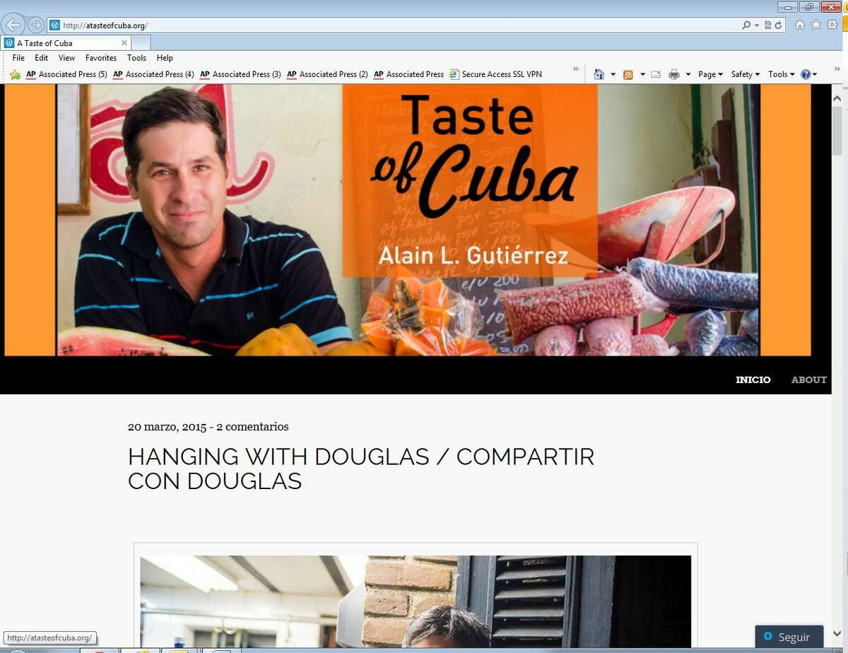 This screenshot of ATasteofCuba.org shows the website of Alain Gutierrez, a Cuban food blogger who is passionate about preserving and promoting traditional Cuban cuisine.
