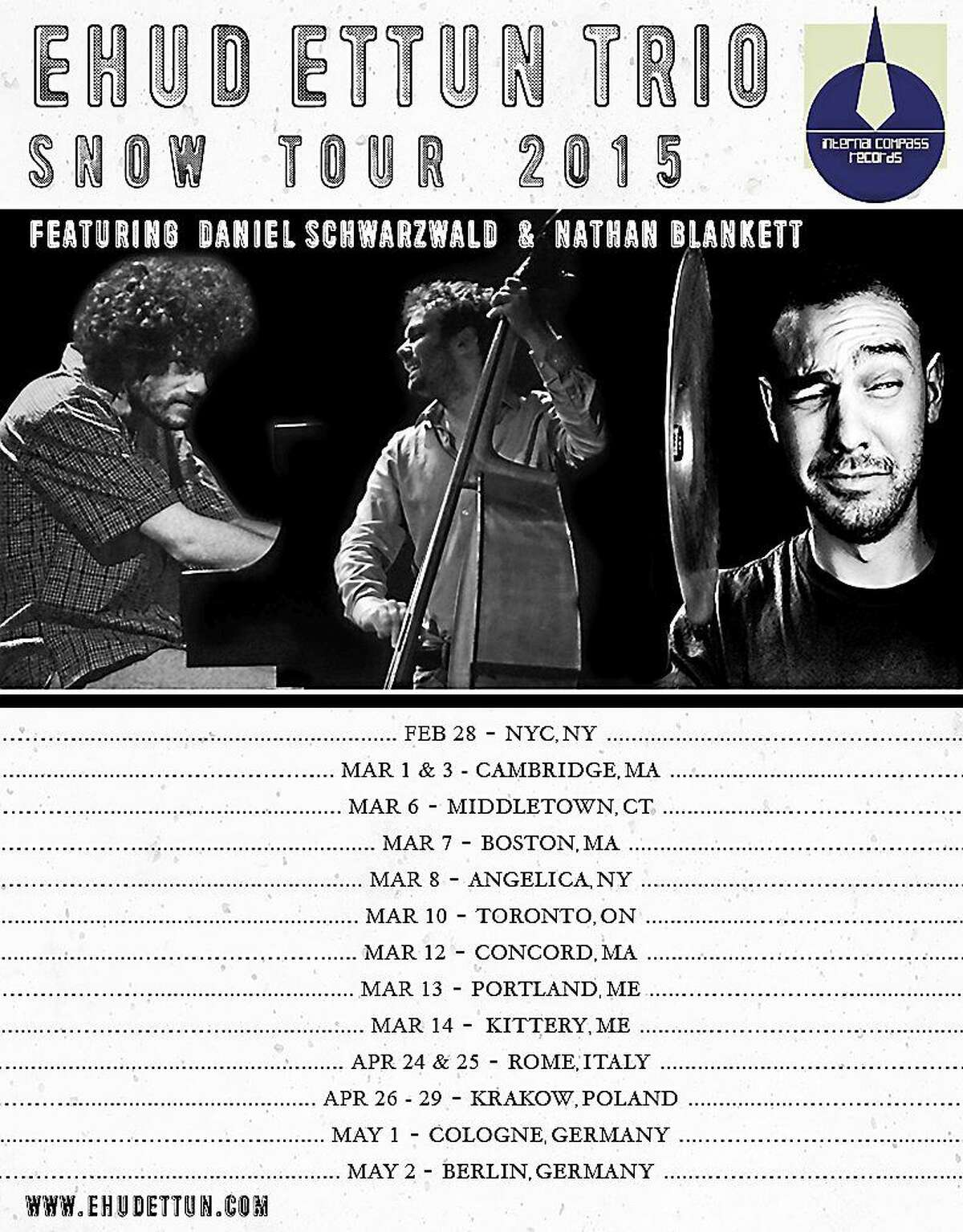 Contributed photo Ehud Ettun Trio makes a tour stop at the Buttonwood Tree in Middletown March 6.