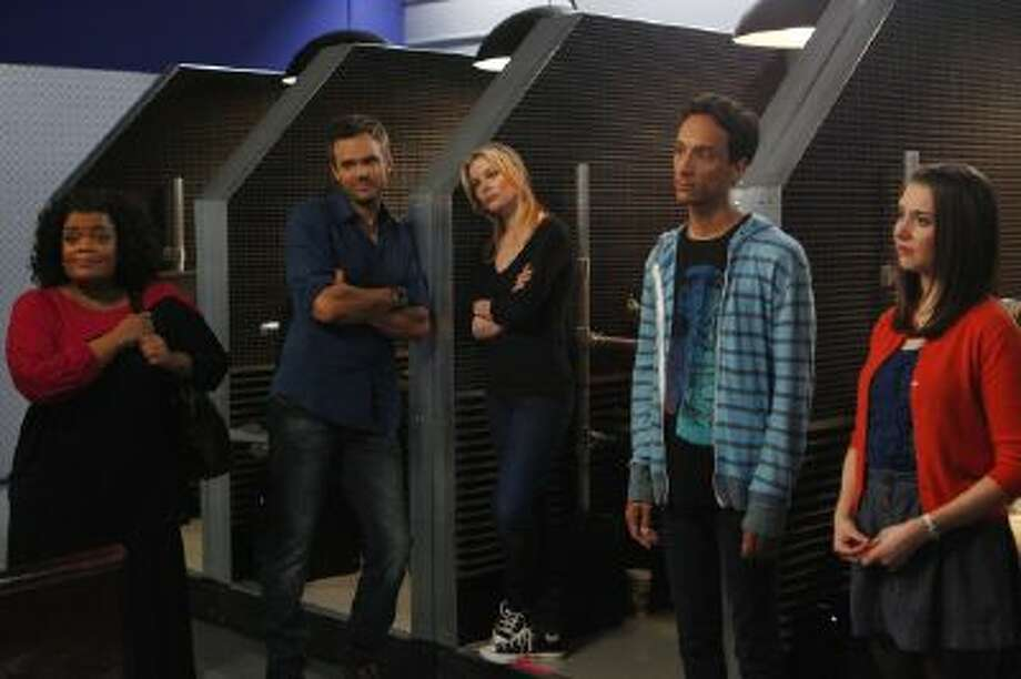 "This image released by NBC shows cast members from ""Community,"" from left, Yvette Nicole Brown as Shirley, Joel McHale as Jeff, Gillian Jacobs as Britta, Danny Pudi as Abed, and Alison Brie as Annie."