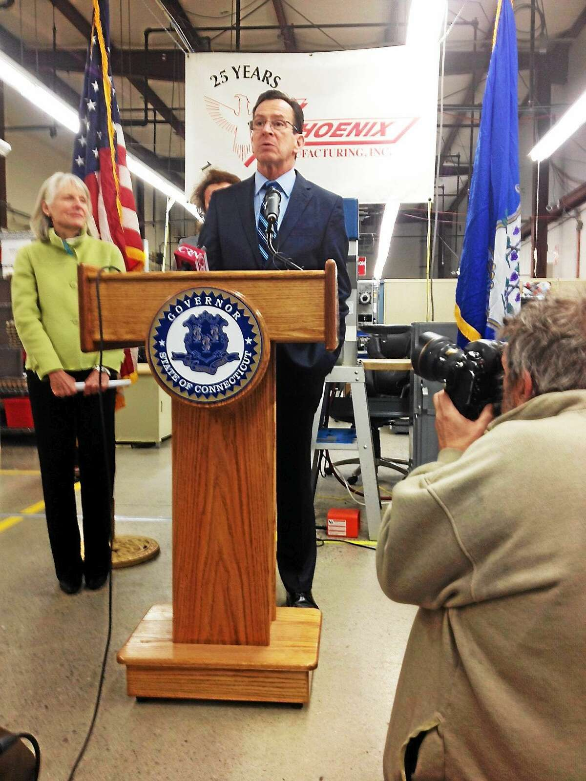 Gov. Dannel P. Malloy speaks at Phoenix Manufacturing in Enfield Tuesday.