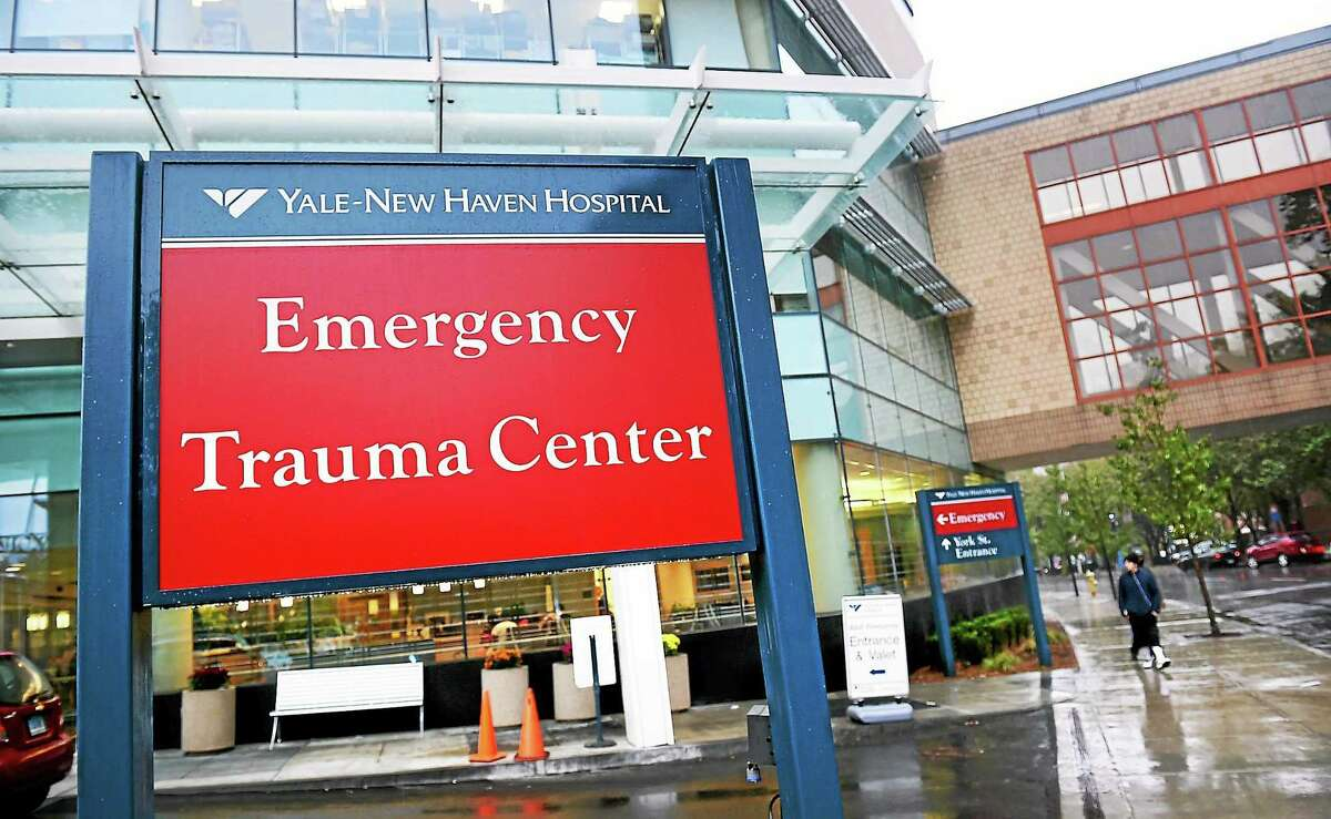 The Emergency Trauma Entrance at Yale-New Haven Hospital in New Haven photographed Thursday.