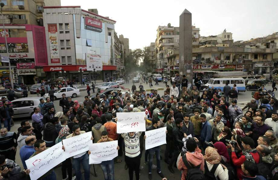 Egyptians, mostly Christians, chant slogans during a protest against the capture of Egyptian Coptic Christians who were killed by militants affiliated with the Islamic State group, in Cairo, Egypt, Monday, Feb. 16, 2015. Photo: AP Photo/Amr Nabil  / AP