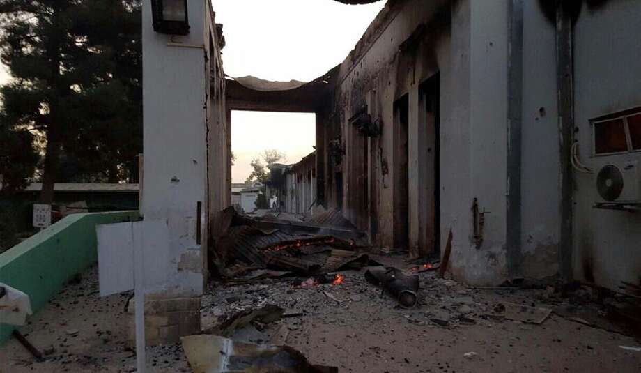 A burnt Doctors Without Borders hospital is seen after an explosion in the northern Afghan city of Kunduz on Oct. 3. Afghan forces backed by U.S. airstrikes have been fighting to dislodge Taliban insurgents who overran Kunduz on Monday. Photo: MÈdecins Sans FrontiËres Via AP  / Médecins Sans Frontières