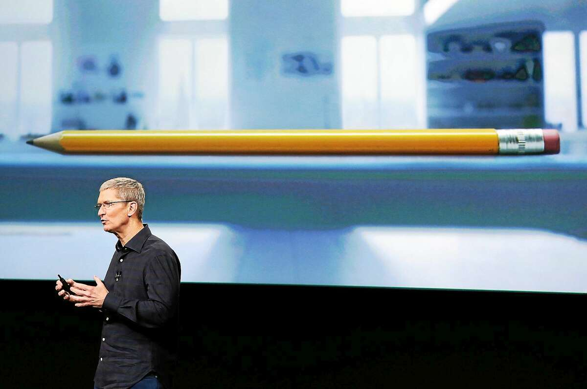 Apple CEO Tim Cook introduces the new Apple iPad Air 2 during an event at Apple headquarters on Oct. 16, 2014 in Cupertino, Calif.