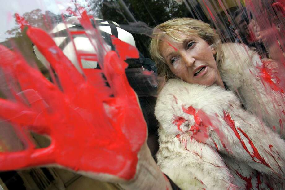 In this Oct. 2, 2006, file photo, People for the Ethical Treatment of Animals (PETA) President Ingrid Newkirk protests the use of animal fur in fashion in a Jean-Paul Gaultier shop in Paris after spraying red paint on the shop window. PETA turns 35 years old in 2015, is the largest animal rights group in world with 3 million members, and has done a lot with a little sex, shock and celebrity. Photo: AP Photo/Christophe Ena, File   / AP