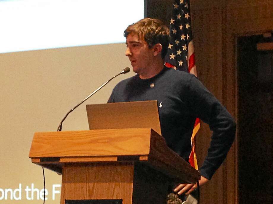 Boston Marathon bombing survivor Jeff Bauman speaks at the Connecticut Citizens Corps Council's 7th Annual Conference Thursday. The 28-year-old lost both legs in the bombings. Photo: Kristin Stoller - New Haven Register