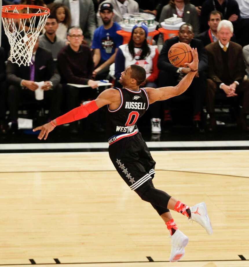 The Associated Press Russel Westbrook dunks the ball during Sunday's NBA All-Star game at Madison Square Garden in New York. Photo: AP / AP