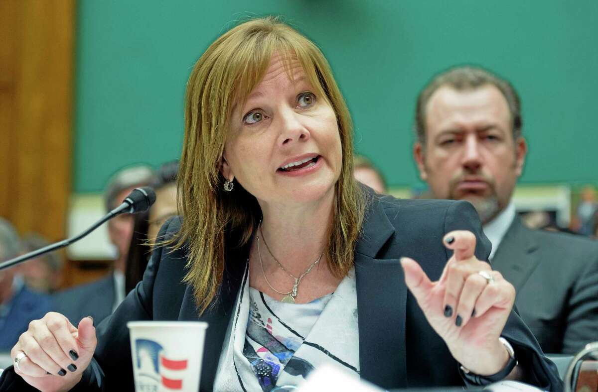 General Motors CEO Mary Barra testifies on Capitol Hill in Washington, Wednesday, June 18, 2014, before the House Oversight and Investigations subcommittee hearing examining the facts and circumstances that contributed to General Motorsí failure to identify a safety defect in certain ignition switches and initiate a recall in a timely manner. (AP Photo/Cliff Owen)