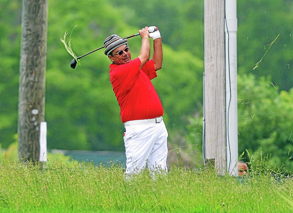 Comedian George Lopez tries to get out of the deep stuff on the 9th hole during the Travelers Celebrity Pro-Am on Wednesday at TPC River Highlands in Cromwell.