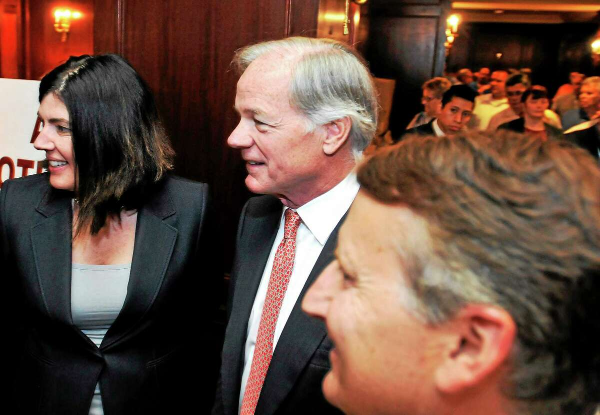 Republican gubernatorial candidate Tom Foley, center, poses for a photo with lieutenant governor candidate Penny Bacchiochi and state Republican Chairman Jerry Labriola Jr. during a visit to the the AFL-CIO political convention at the Omni New Haven Hotel at Yale earlier this week.