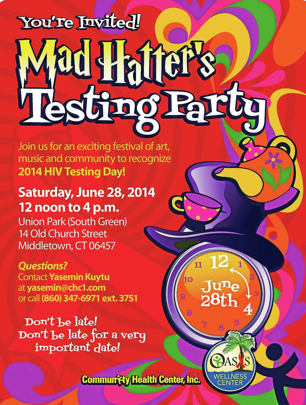 Flier for Community Health Center's HIV testing party. Submitted image.