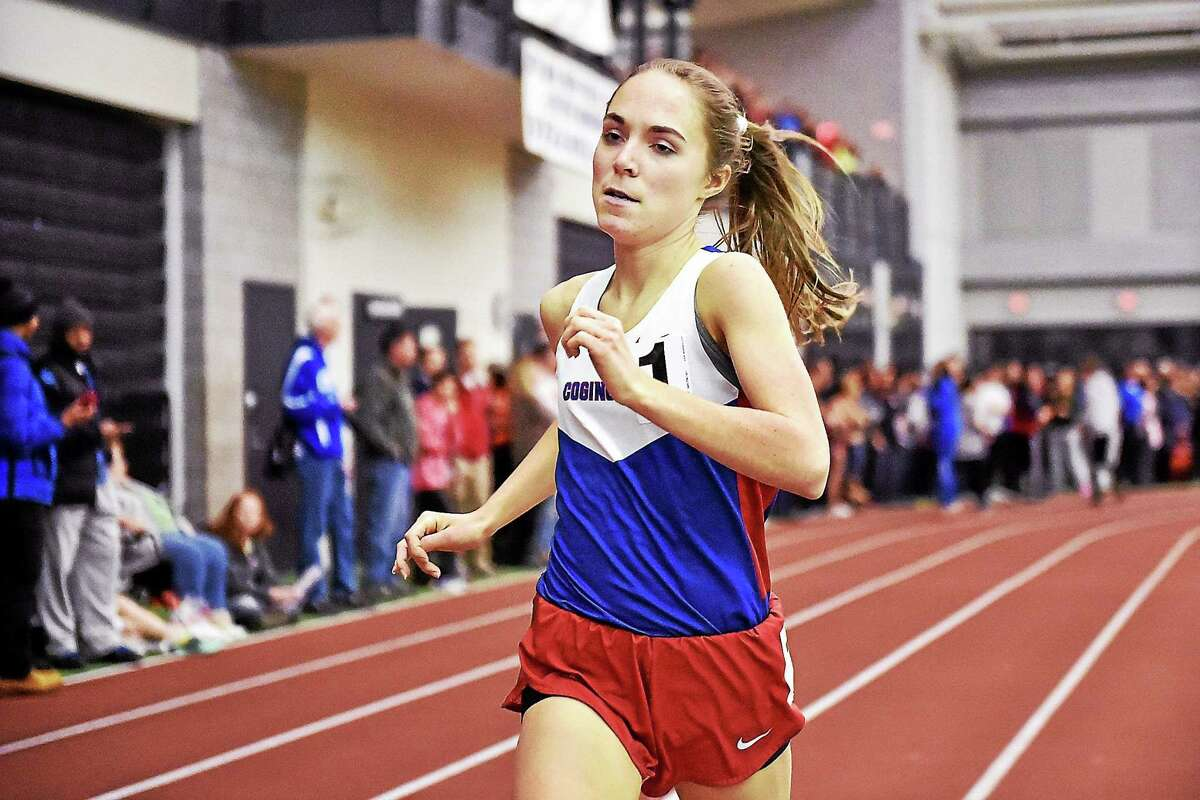 Jessica Drop won the 1000m in 2:55.10, an unofficial meet record in the CIAC Class S Indoor Track and Field Championships on Thursday.