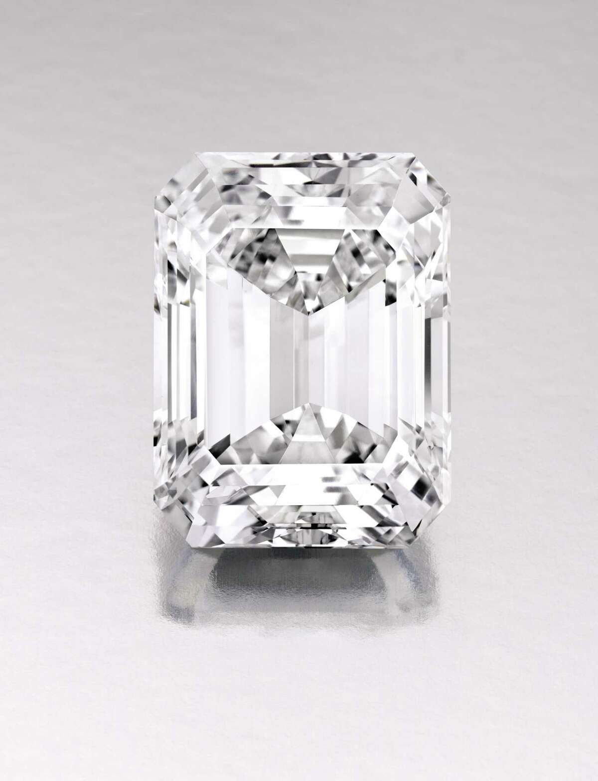 This Jan. 2015 photo provided by Sotheby's shows an emerald-cut white diamond in New York that Sothebyís will auction on April 21 with predictions it could fetch $19 million to $25 million. The rare 100-carat emerald-cut white diamond, which Sothebyís says is internally flawless and is considered ìperfect,î was mined in South Africa and weighed over 200 carats in the rough. (AP Photo/Sotheby's)