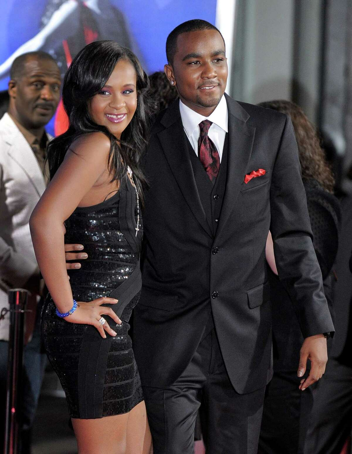 FILE - In this Aug. 16, 2012, file photo, Bobbi Kristina Brown, left, and Nick Gordon attend the Los Angeles premiere of