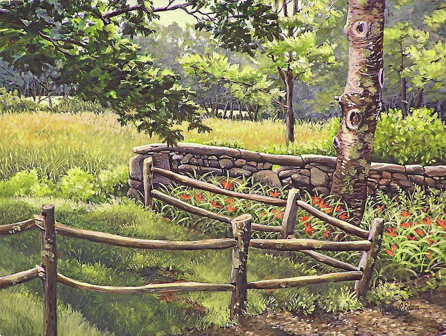 The Wall Behind Hunt Hill Farm, egg tempera, 12x9in by Laura J. Eden. Photo: Journal Register Co.