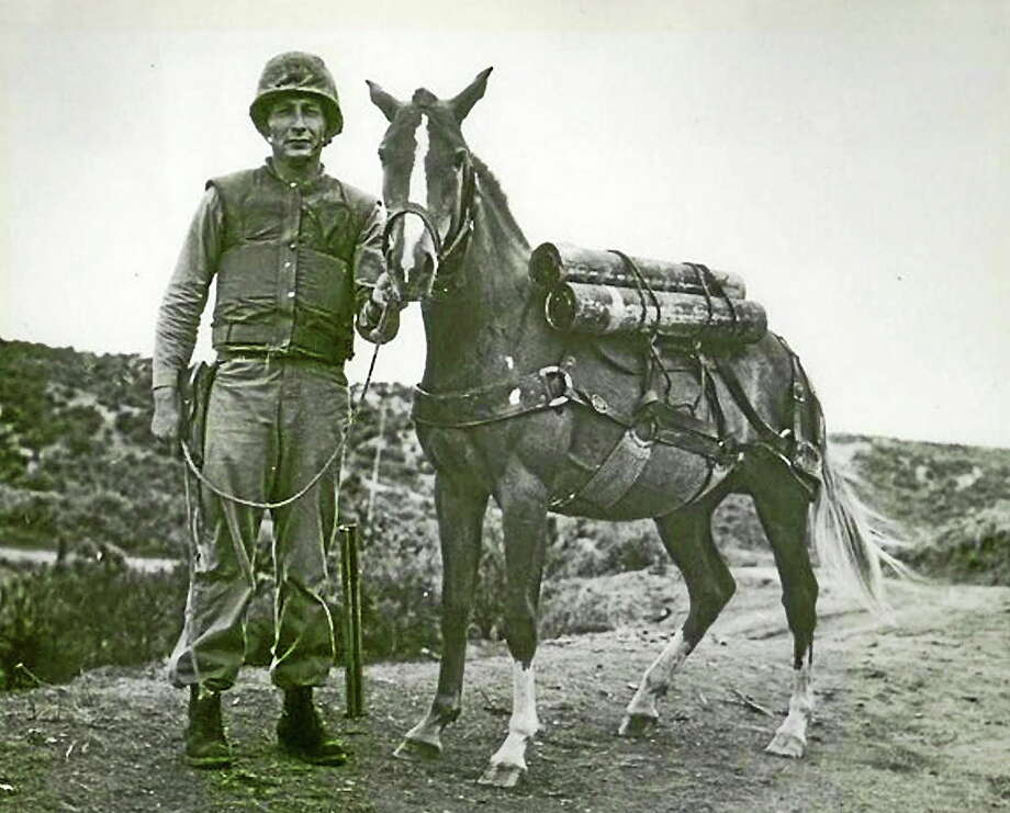 Submitted photo  Sgt. Reckless with Sgt. Joe Latham. Photo: Journal Register Co.