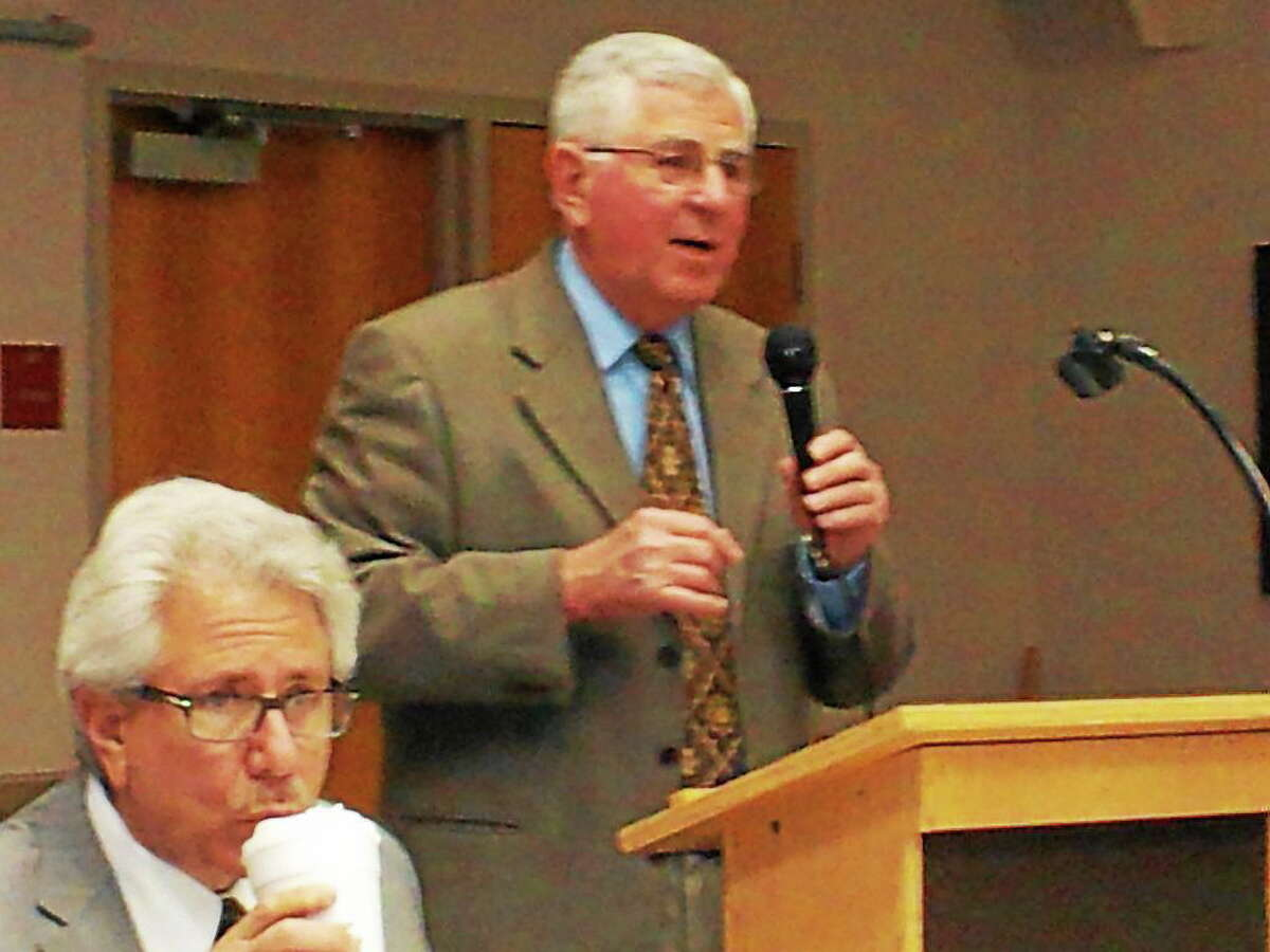 Haddam resident Ed Munster speaks at Wednesday night's meeting on Common Core at the Higganum Firehouse.