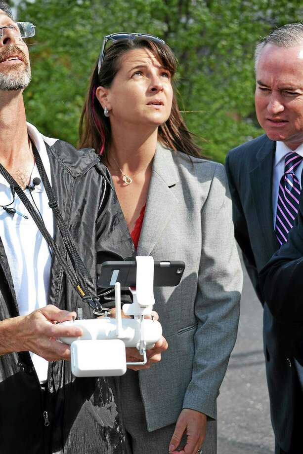 State Rep. Christie Carpino, R-Cromwell and Portland, took part in a drone demonstration at the State Capitol in Hartford earlier this month. Photo: Courtesy Photo