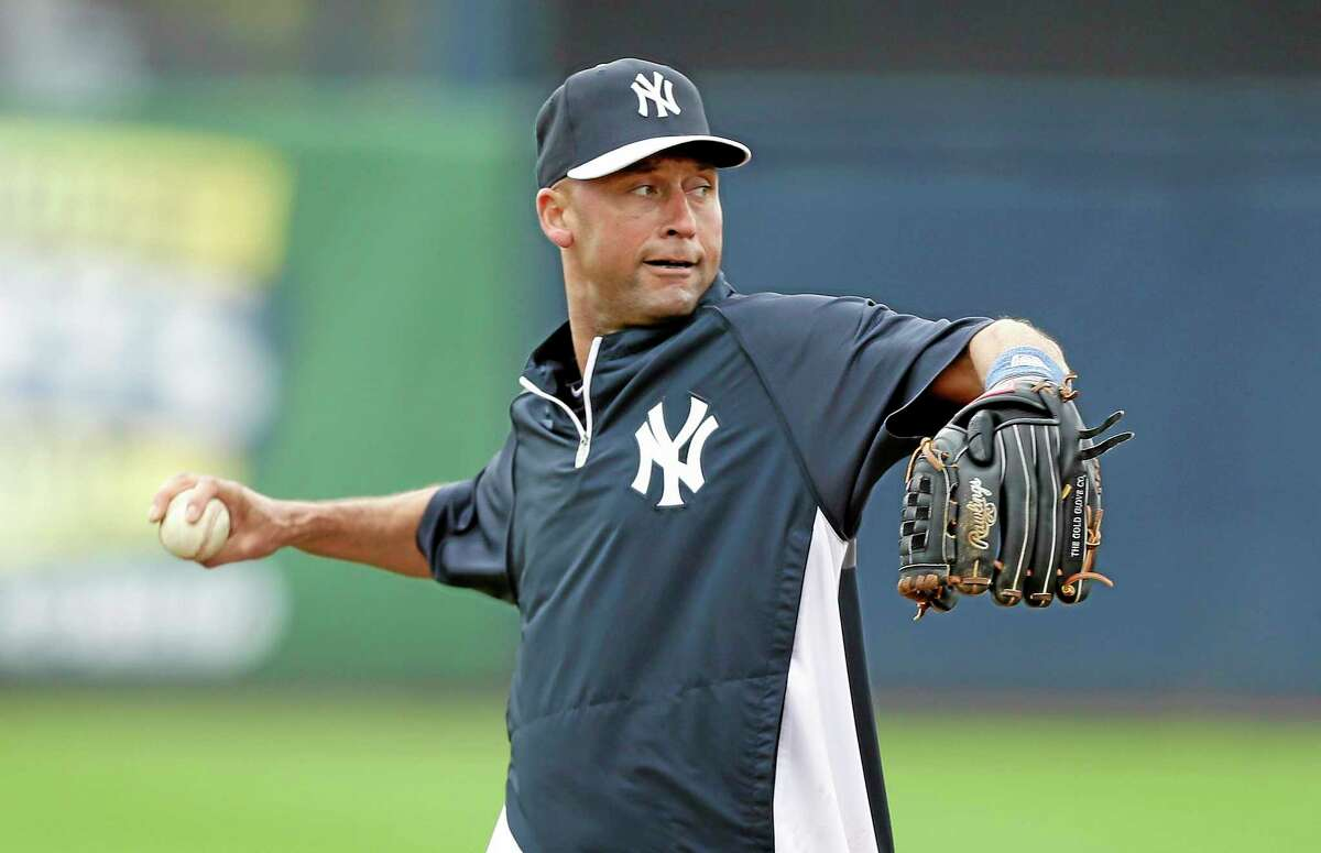 New York Yankees shortstop Derek Jeter grounded into a double play in the first at-bat of his final season.