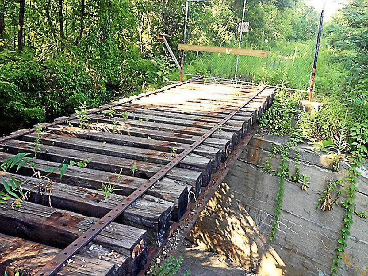 The abandoned Chester Valley Railroad bridge is shown crossing over Boro Line Road. ¬ Photo provided by Michael Shaw ¬