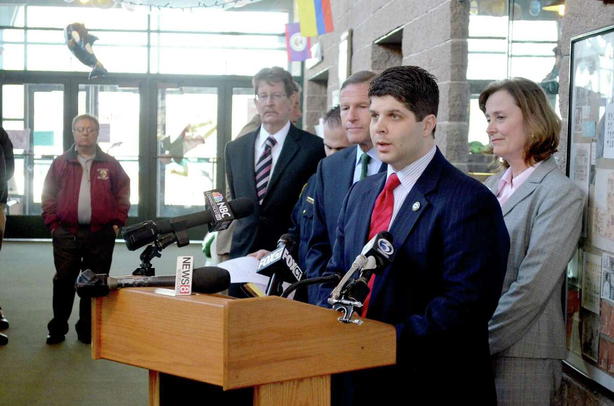Middletown Mayor Daniel Drew speaks at a press conference about increasing school security at the Wilburt Snow Elementary School in Middletown in this 2013 archive photograph. Web-based video security systems will soon be installed in municipal schools.