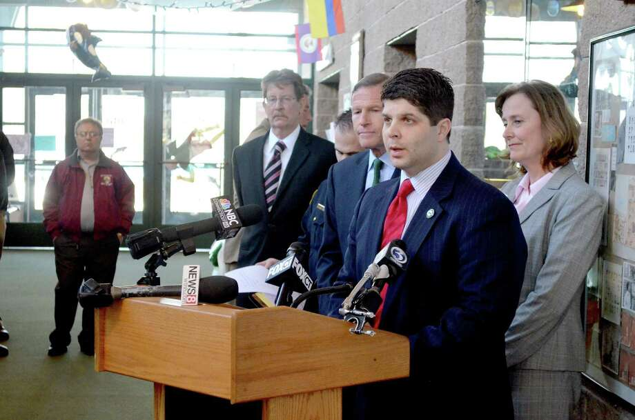 Middletown Mayor Daniel Drew speaks at a press conference about increasing school security at the Wilburt Snow Elementary School in Middletown in this 2013 archive photograph. Web-based video security systems will soon be installed in municipal schools. Photo: File Photo