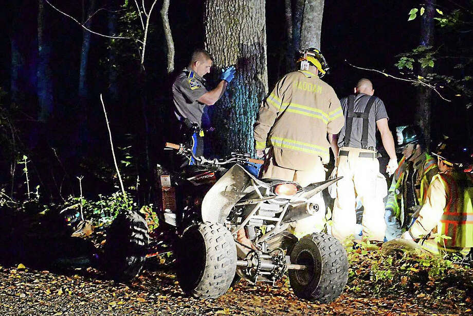Two teens, residents of Haddam and Killingworth, were seriously hurt Saturday morning when their ATV hit a tree in Haddam. Photo: Haddam Volunteer Fire