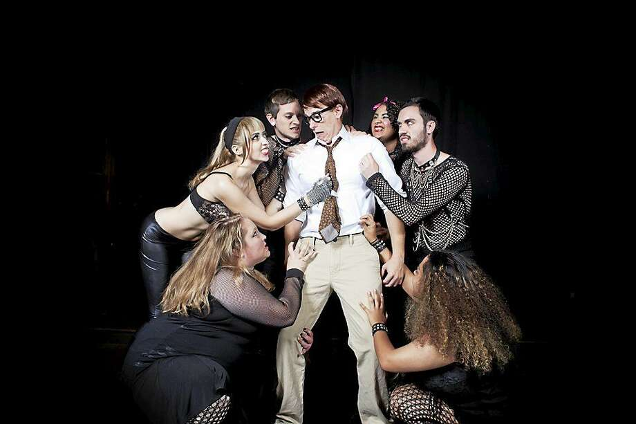 Brad and the Transylvanians include, from left, Jenn Lohmann, Justine Wiesinger, Nick Hirth, Will Caswell, Rowan McDonald, Patryk Mathieu and Kathleen McKay Payne. They'll be found at Trinity On Main in New Britain during the Phoenix Theater Company's performances of the Rocky Horror Show. Photo: Photos Courtesy Of Phoenix Theater Company  / Copyright:Victor J. Gonzalez