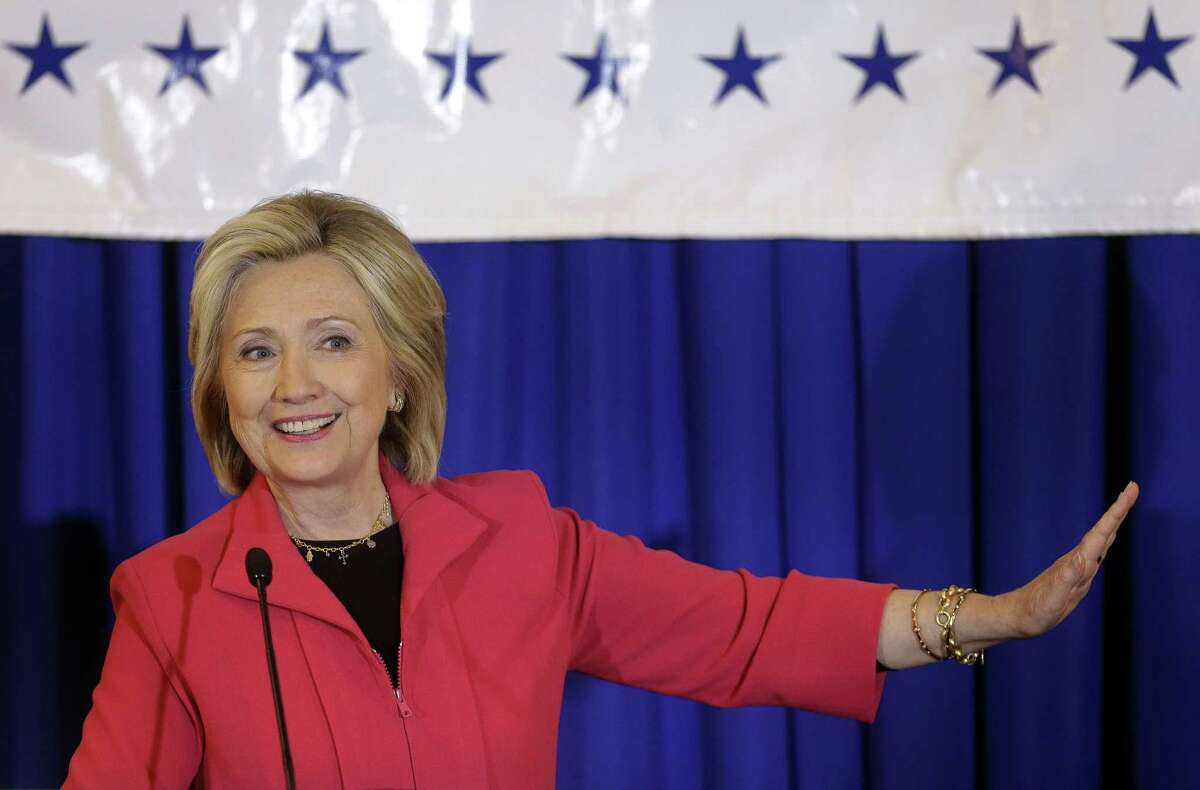 Democratic presidential candidate Hillary Rodham Clinton addresses an audience during a campaign stop at a Flag Day dinner on June 15, 2015, in Manchester, N.H.