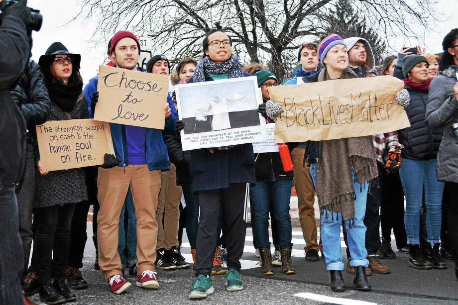 Last December, hundreds of Wesleyan University students and supporters marched to Middletown's Main Street to stage a die-in to support the Black Lives Matter movement. This year, the local NAACP chapter is using the activist message as its Freedom Fund dinner theme. Photo: File