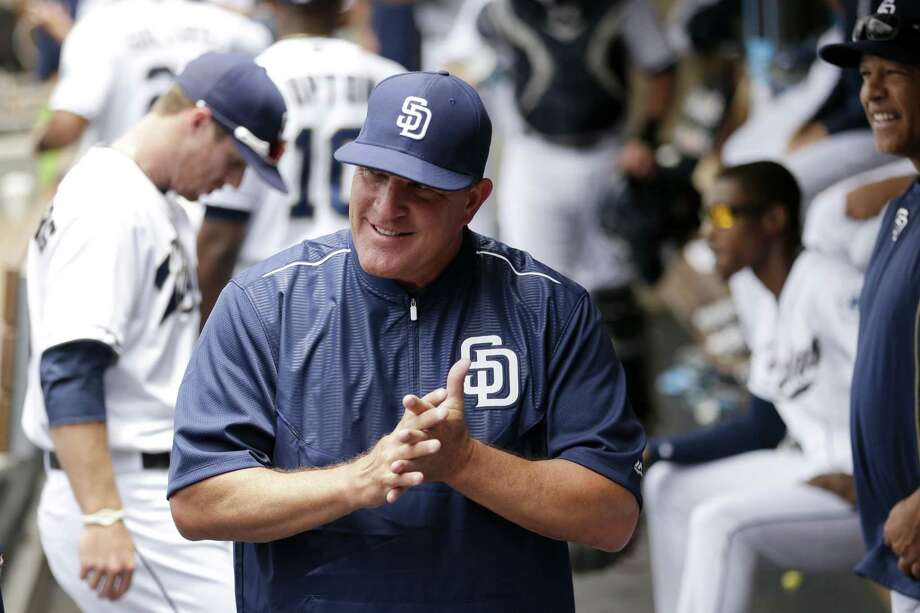 Padres interim manager Pat Murphy looks on from the dugout before Tuesday's game against the Oakland Athletics in San Diego. Photo: Gregory Bull — The Associated Press  / AP