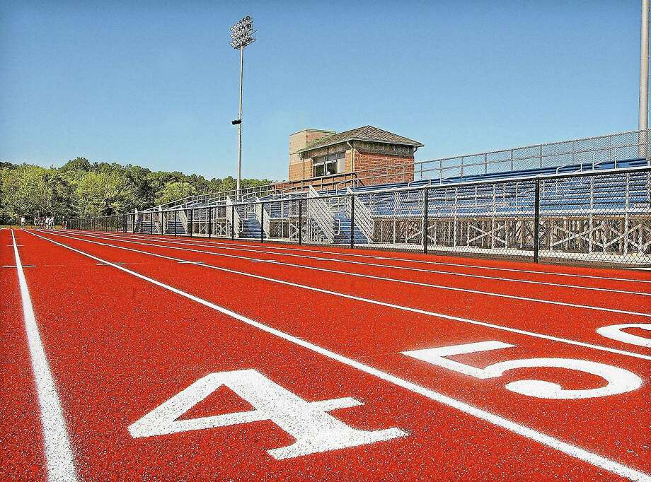 The track, press box and athletic fields at Middletown High School on LaRosa Lane. Photo: File