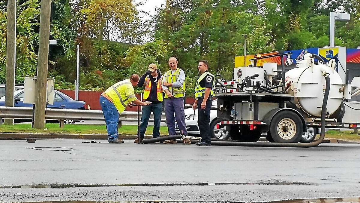 A water main break Monday afternoon on Route 66 near the Sunoco gas station and Meineke Car Care in Middletown caused delays during rush hour.