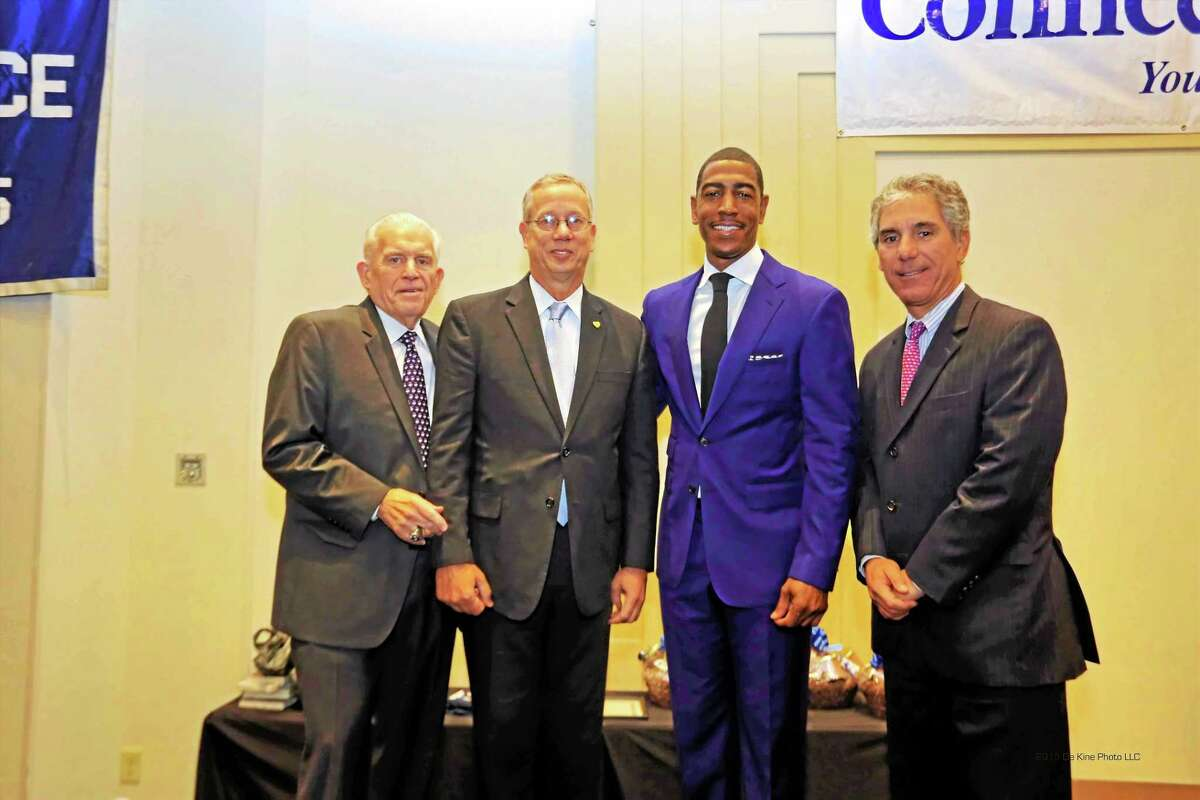 From left are: Middlesex Chamber of Commerce President Larry McHugh, Essex Savings Bank President and Chamber Vice Chairman Greg Shook, UConn Head Men's Basketball Coach Kevin Ollie, and Middlesex Hospital CEO and Chamber Chairman Vin Capece.