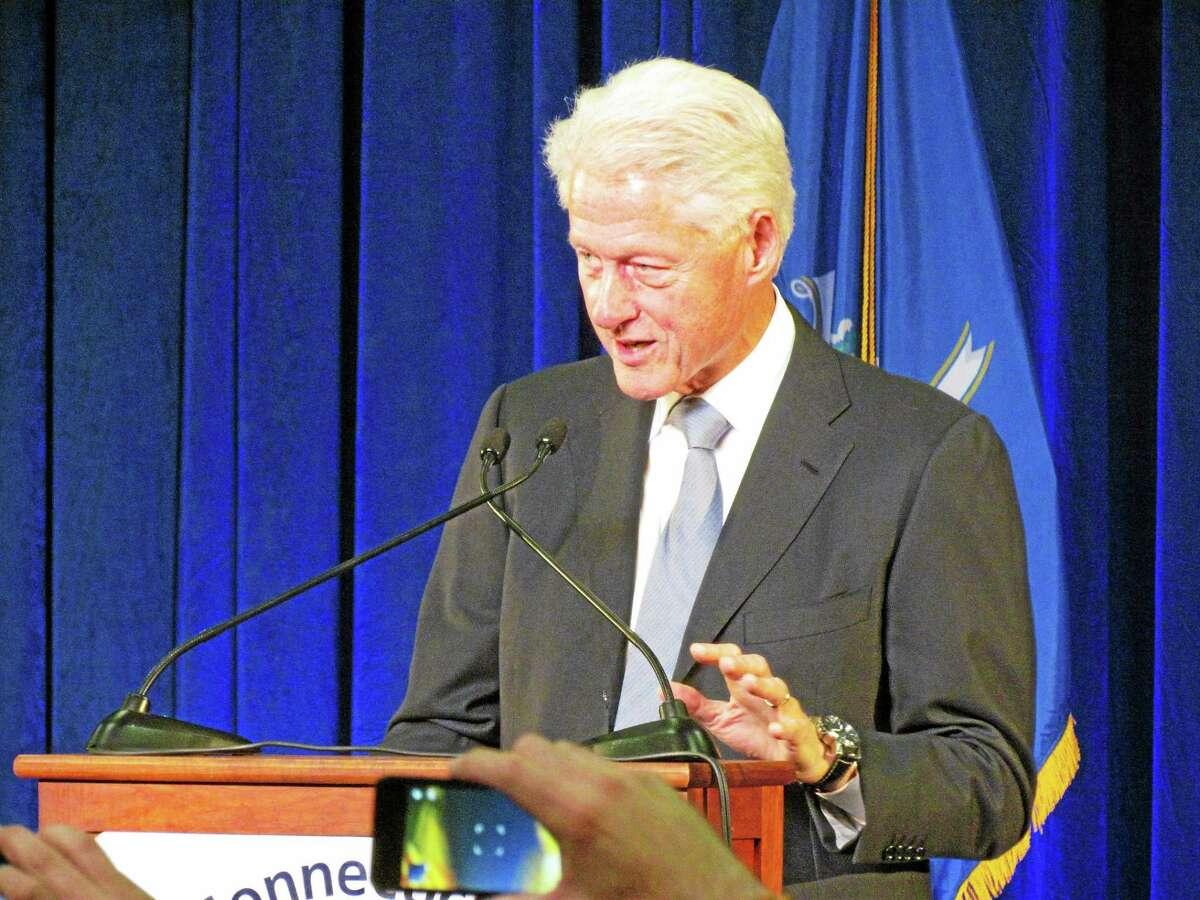 Former President Bill Clinton speaks Monday night in Hartford.