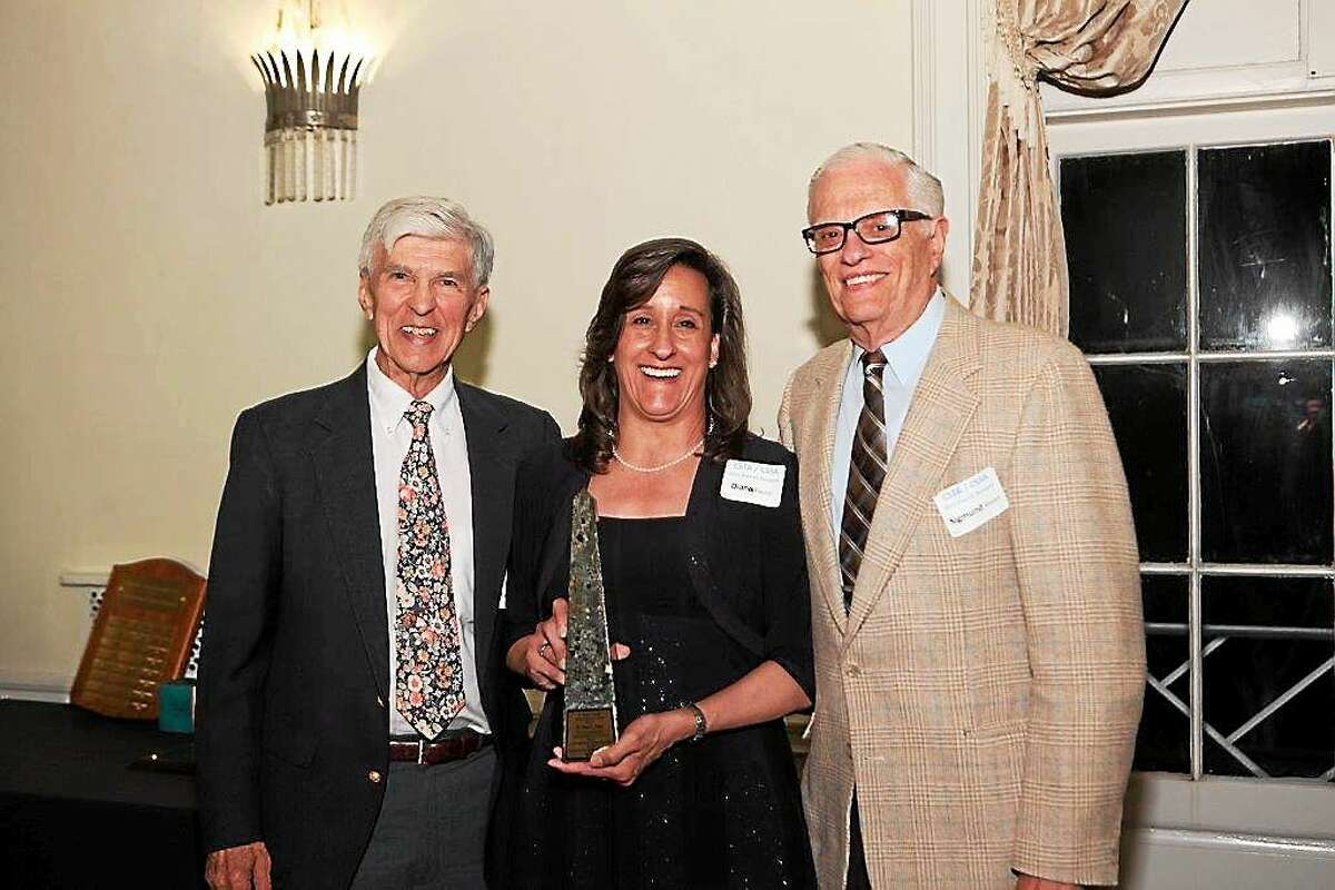 Dr. Diana Payne of Middletown is shown with Drs. Sigmund Abeles, Connecticutís Science Consultant emeritus; and Ralph Yulo, marine educator and member of the Southeastern New England Marine Educators.