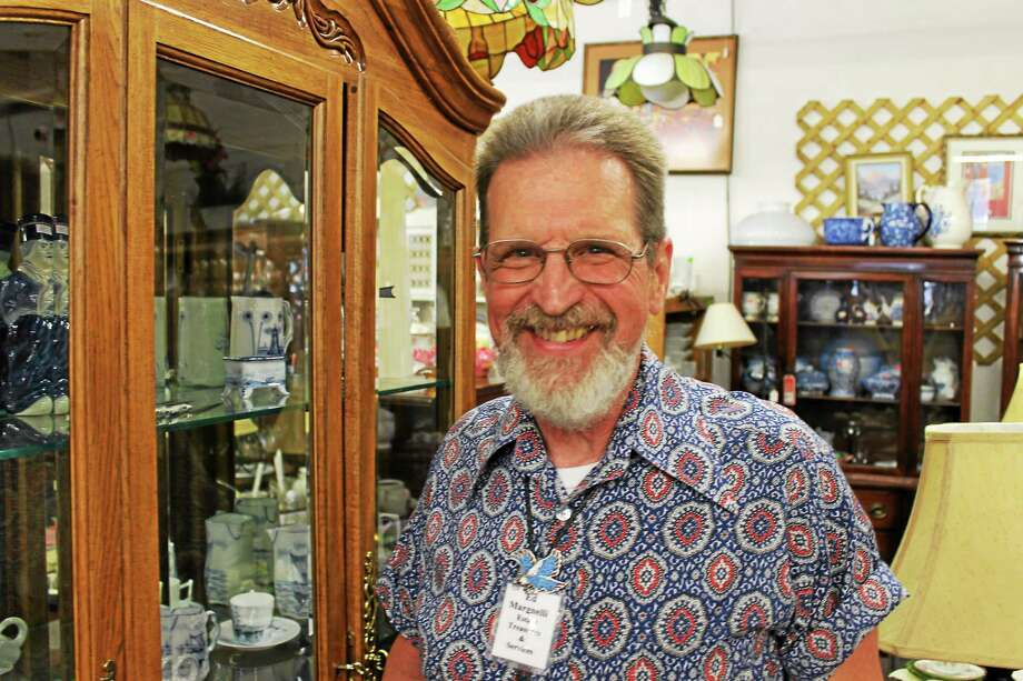 Ed Margnelli owns Estate Treasures on Main Street Extension in Middletown, one of the city's numerous shops where those who love antiques and second-hand items may browse, Photo: Bob Crawshaw — Special To The Press